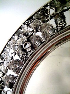 Detail of an American coin silver tray with grapevine motif, maker's mark of William Gale, New York, c1820 (Beverly Bremer)