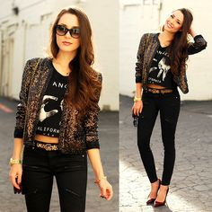 Juicy Couture Chocolate Sequin Jacket, Juicy Couture Leopard Belt, Daily Look Bb Dakota Zoey Zip Crop, Daily Look La Crop Top