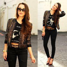 Juicy Couture Chocolate Sequin Jacket, Juicy Couture Leopard Belt, Daily Look Bb Dakota Zoey Zip Crop, Daily Look La Crop Top