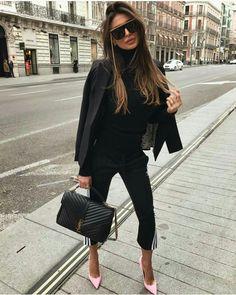 Black blazer and YSL handbag for elegant street style. #streetstyle #streetfashion #blazer #blackoutfit #pinkshoes #heels #ysl #yslbag #fabfashionfix