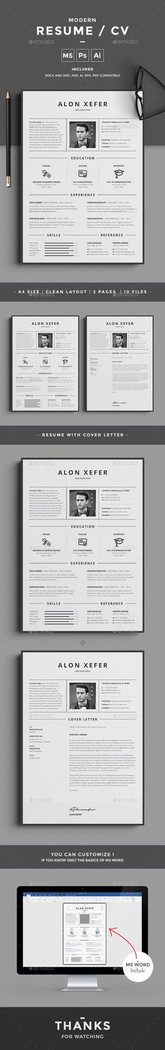 Buy Resume by design-park on GraphicRiver. Resume Word Template / CV Template with super clean and modern look. Clean Resume Template page designs are easy to u. Resume Layout, Job Resume, Resume Tips, Resume Examples, Student Resume, Resume Design Template, Cv Template, Resume Templates, Portfolio Resume