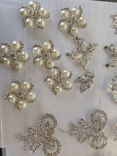 Crystal pearl silver brooches for sale each Embroidery Flowers Pattern, Embroidery Monogram, Embroidery Jewelry, Beaded Embroidery, Flower Patterns, Flower Designs, Embroidery Ideas, Hand Embroidery, Silver Brooch