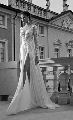 lace wedding dress with sleeves  Love but don't want a big slit down the bottom