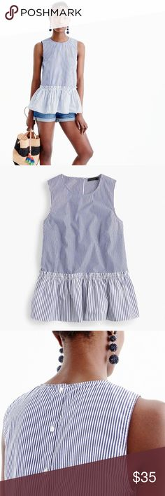 J. Crew Button-Back Striped Peplum Top J. Crew Button-back striped peplum top. Size Large. Brand new with tags! No rips or stains, from smoke free home. Feel free to ask any questions! J. Crew Tops Blouses