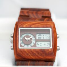 Father's Day | Dual-Time Wooden Watch BY Wood Woot Malaysia | Made from natural wood and a stainless steel buckle. A Dual-Time analog and digital wooden watch is the perfect gift for your dad. It's light weight, with LED backlight. | Shoppertise Online Shopping - Malaysia