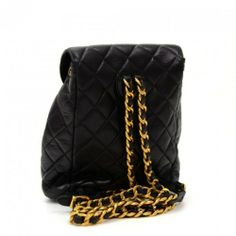 Chanel Black Quilted Leather Medium Backpack Bag