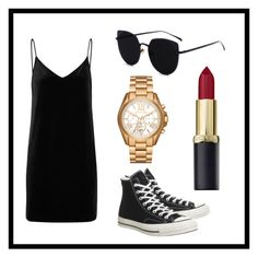 """Black"" by cserebecca ❤ liked on Polyvore featuring rag & bone/JEAN, Converse and Michael Kors"