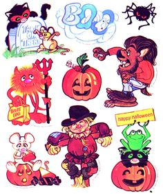 Peel Here! Stickers of the Halloween Inspo, Retro Halloween, Halloween Goodies, Halloween Stickers, Halloween Horror, Happy Halloween, Goth Baby, Vintage Strawberry Shortcake, Halloween Illustration