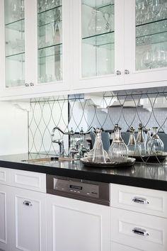 Mirrored Wet Bar Backsplash, Transitional, kitchen, Highgate House