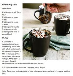 NUTELLA MUG CAKES! What a great way to make a single size serving of dessert in a jiffy. And enjoy some NUTELLA also. Try these Nutella Mug Cakes. Only takes about minutes to cook in the microwave. Just Desserts, Delicious Desserts, Dessert Recipes, Yummy Food, Dessert Healthy, Mug Recipes, Sweet Recipes, Cake Recipes, Nutella Recipes