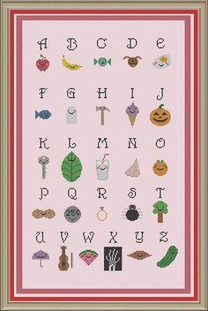 Alphabet sampler: cute cross-stitch pattern