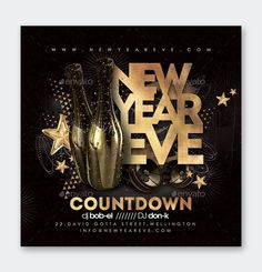 New Year Party Flyer Template PSD New Years Countdown, Club Parties, New Year Celebration, Party Flyer, New Years Party, Flyer Template, Templates, Models, Brochure Template