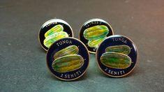 Tonga enamelled coin cufflinks  2 seniti watermelon  21mm