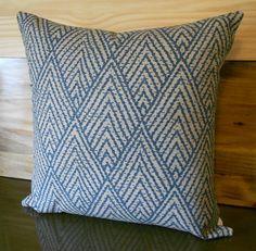 Blue and tan chevron decorative throw pillow by pillowflightpdx, $28.00