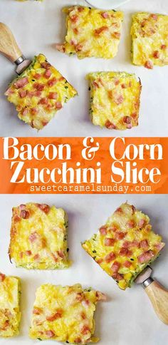 Bacon Corn Zucchini Slice which is flourless and gluten free! Healthy Zucchini slice packed with vegetables #zucchinislice #savoryslice #breakfastrecipe #easyslice @sweetcaramelsunday