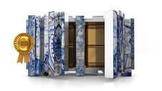 Hand painted tiles in a great contemporary sideboard