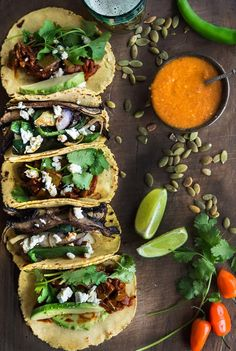 Vegetarian Tex-Mex Tacos- I could eat this every night for dinner and be perfectly happy with my life! Healthy Recipes, Veggie Recipes, Mexican Food Recipes, Vegetarian Recipes, Cooking Recipes, Cooking Ribs, Cooking Games, Healthy Foods, I Love Food