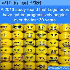 Amazing And Weird Facts - A 2013 study found that Lego faces have gotten progressively. Funny Weird Facts, Creepy Facts, Wtf Fun Facts, The Funny, Fascinating Facts, Lego Faces, Celebrity Blogs, Dark Humour Memes, Science Facts