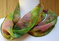 Handpainted silk scarf OOAK  Inspired by the paintings and designs of the Impressionist SALE $37