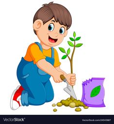 A boy planting a green young plant with fertilize Vector Image - Modern Design World Humanitarian Day, Educational Activities For Preschoolers, Shiny Happy People, World Aids Day, Butterfly Drawing, Donate To Charity, Kids Prints, Art For Kids, Illustration