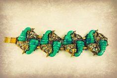 SALE 1920s Faux Peking Glass Bracelet /  by RighteousRecycling, $155.00