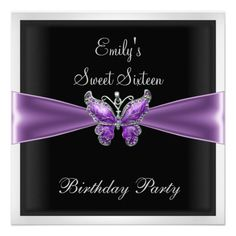 Sweet Sixteen 16  Purple Butterfly black 1 Announcements party Invitations by Zizzago.com