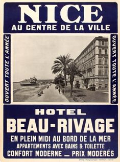 Nice Hotel Beau Rivage Riviera 1910s - original vintage poster listed on AntikBar.co.uk