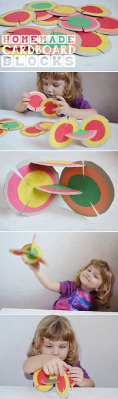 Homemade cardboard blocks. Cut out of cardboard and colored paper circles, glued and cut with scissors = great fun for children and adults.