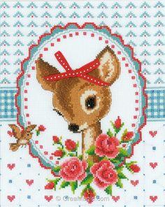 Le faon avec roses - PN-0150452 - Broderie - Chambre d'enfants - Enfants…