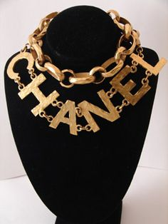 """Vintage CHANEL logocouture necklace with a """"Greek Roman hand-hammered"""" look.The necklace measures 32"""" long and each link measures 1.25""""."""