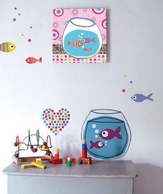 Tableaux chambre d'enfant et bébé : Poissons confettis