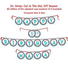 Banner/Bunting, Dr. Seuss, Cat In The Hat, DIY Digital, Turquoise Blue & Red