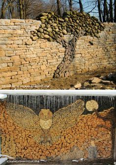 Stone tree wall and owl wood pile