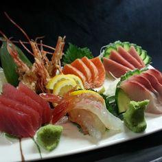 An amazing sashimi plate with sweet shrimp, blue fin toro, big eye tuna, New Zealand King Salmon and yellowtail.