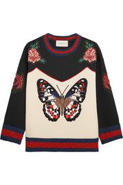 Embroidered bonded cotton-jersey sweatshirt