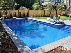 Rectangular Swimming Pool, Natural Stone Coping