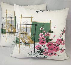 Japanese Cherry Blossom barkcloth Cushion