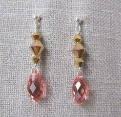 Swarovski crystal/24kt gold & rose peach briolette by trinkjewelry