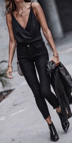 #fall #outfits Black Tank + Black Skinny Jeans + Black Leather Booties