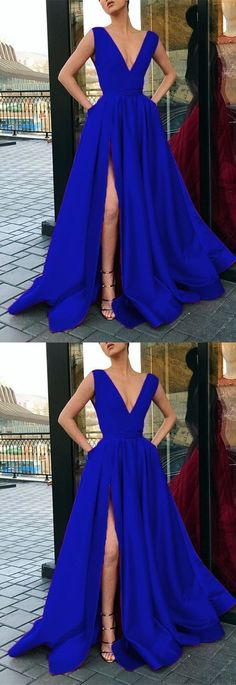 Unique Prom Dresses, Plunge V-neck Long Satin Prom Dress Leg Split Evening Gowns, There are long prom gowns and knee-length 2020 prom dresses in this collection that create an elegant and glamorous look Royal Blue Prom Dresses, Prom Dresses 2018, Long Prom Gowns, Strapless Dress Formal, Popular Dresses, Dresses For Teens, Flynn Rider, Rapunzel, Dress Collection