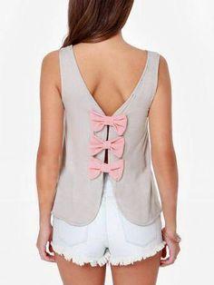 Women Fashion Sleeveless Blouse Sexy Back Bow Tank Top at Banggood