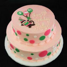 Monkey & Polka Dot Birthday Cake