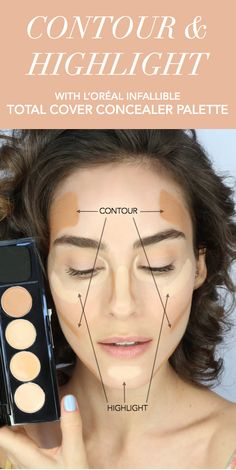Infallible Total Cover Conceal & Contour Kit. 4 pigmented shades easily conceal, define, contour & correct.