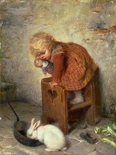 Little Girl With a Rabbit by Hermann Kaulbach