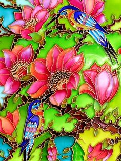"""""""Stained glass"""" painting of flowers and hummingbirds! Stained Glass Paint, Stained Glass Designs, Stained Glass Patterns, Stained Glass Windows, Mosaic Art, Mosaic Glass, Glass Art, Glass Painting Designs, Paint Designs"""