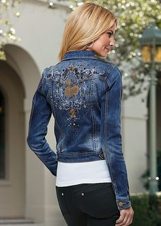 The jean jacket is back and better than ever! Venus embellished jean jacket with Venus seamless cami.