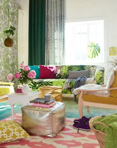 By Simone Borcherding stylist   writer   spacemaker.  Pattern filled lounge layered with velvet and colourful tones.