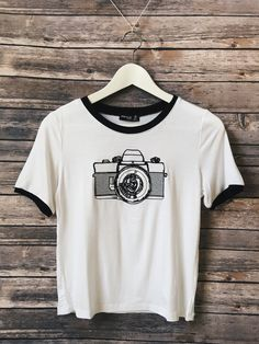 Camera Embroidered Ringer Tee