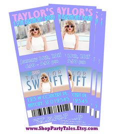 TAYLOR SWIFT 1989 World Tour 2015 Concert Ticket Invitation birthday party ideas by ShopPartyTales