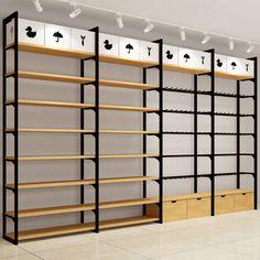 Wood racks design Gondola shelf for boutique store display rack Retail Display Shelves, Retail Displays, Store Shelving, Garage Shelving, Shop Displays, Merchandising Displays, Window Displays, Boutique Store Displays, Boutique Stores